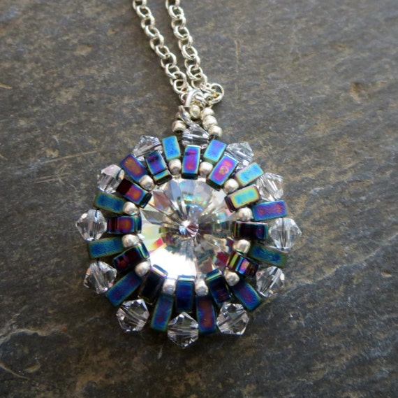 Ironman Pendant Inspired by the movie Blue Swarovski Pendant Arc Reactor Necklace Crystal Pendant Charity Necklace