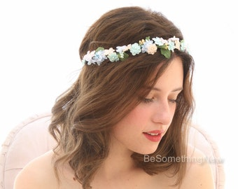 Pastel Flower Crown Wedding Floral Halo in Pink Peach and Blues, Flower Girl Headpiece, Festival Headband