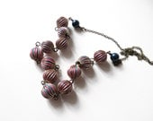 Colorful Pink and Blue Beaded Retro Necklace // dark blue Swarovski pearl accent, sixties 1960s funky vintage style, wire wrapped brass