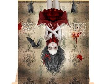 ACEO Art Card - Vampire Girl & Bats - Amongst Friends