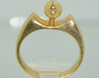 14K Modernist Ball Orb Ring