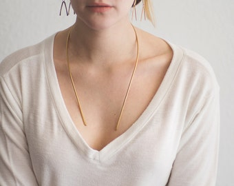 Long Minimal Brass Collar. Sleek Simple Necklace. Statement Piece. Golden Brass Long Collar. Minimalist Necklace. Open Necklace. Golden Bass
