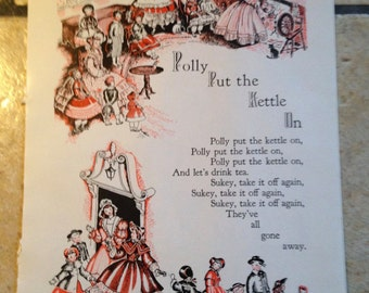 1947 Polly Put the Kettle On Nursery Rhymes Vintage Illustrations