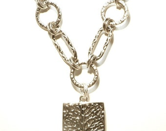 Chunky Bold Antiqued Silver Artisan Style Chain with Rectangular Tree Pendant