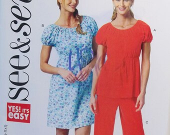 Women's Plus Size Boho Outfit See & Sew Butterick B5774 Sewing Pattern, Easy to Sew Peasant Dress, Top and Pants Size 4 - 26 Pattern Destash