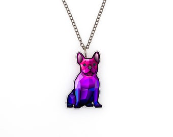 Geometric French Bulldog - Watercolor Splash Frenchie Tattoo Necklace