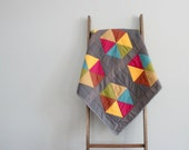 Baby Girl Quilt, Baby Blanket, Crib Quilt, Stroller Blanket - Multicolor Hexagons on Gray