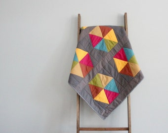 Baby Girl Quilt, Baby Blanket, Crib Quilt, Stroller Blanket - Multicolor Hexagons on Gray