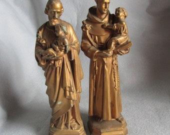 Saint Joseph & Saint Anthony Metal Figurines