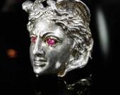 Vintage Huge sterling Medusa Ring Sterling snakes Goddess ring size 8