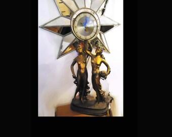Antique French Art Nouveau Clock double statue nude Goddess sculpture LARGE mantle france keywind 24 hour