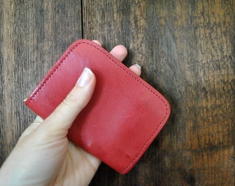 RED Coach Leather Wallet / chain purse / 1990s