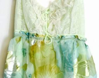 Altered slip dress in pale green and blues with sparkle special occasion party wedding bridesmaid large