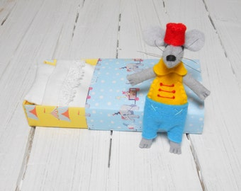 Circus Mouse in matchbox pre teen kids gifts flea tamer decor vintage costume party carnival trapeze freak show circus themed tent party