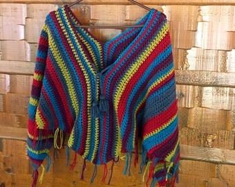 Gypsy Poncho Crochet PATTERN - Fringe - Gypsy Poncho Crochet Pattern - 8 sizes