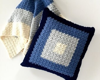 Pillow Cover Crochet PATTERN - Modern Pillow - Pillow Cover - Squares Design