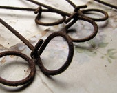 rusty wire loops - primitive sticks with looped ends - assemblage jewelry or art supply - 12 piees