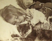 Child Sleeping with Cat & Doll  - Antique Real Photo Stereoview