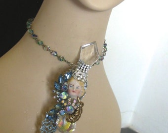 Vintage mixed media assemblage Healing angel necklace Bisque Doll Charlotte head chandelier prisms  Unique Art to wear OOak by Sorrentino