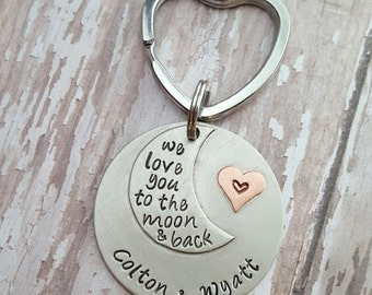 JBK personalized I love you to the moon and back key chain
