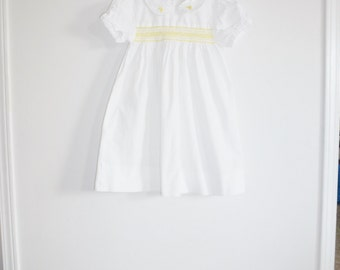 Vintage White and Yellow Girl's Dress