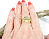 Yellow and Silver Adjustable Ring, Cocktail Ring, Adjustable Band Ring, Womens Ring