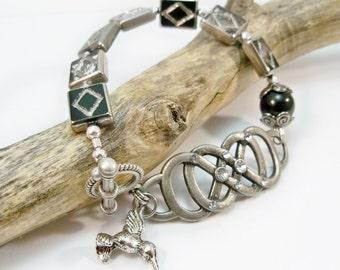 Black and Silver Women's Bracelet, Jewelry Set, Gifts for Her, Antique Silver Bracelet, Cuff Bracelet,