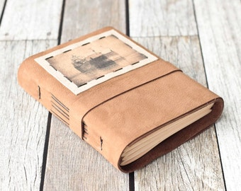 Tan Leather Journal with Ore Ship Photo, Rustic Travel Diary