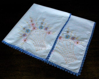 Embroidered Table Cloth, Square Large White Table Linen, Spring Floral Table Linens, French Knot Easter Table Cloth