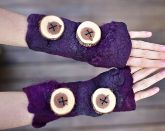 Felt Pixie Woodland Nymph Deep Plum Purple Cuffs Matching Arm Warmer Fingerless Gloves OOAK