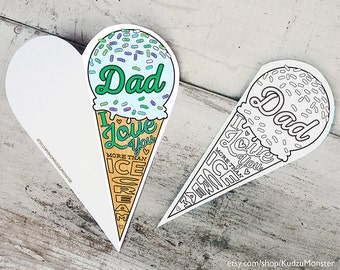 """Printable Father's Day Card Coloring card printable ice cream cone classroom coloring activity """"Dad I love you more than ice cream"""""""