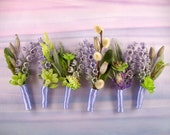 Lavender wedding flower pin purple wedding dried plants succulents purple and green wedding lavender boutonniere uncle aunt lapel pin family