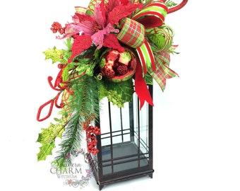 Christmas Lantern Swag in Lime Green Red w Poinsettia, Ornaments, Bow -Christmas Mantle -Christmas Decor -Christmas Table Decor