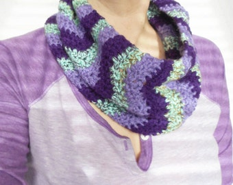Chevron Stitch Cowl Scarf in Purple and Mint,  ready to ship.