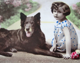 Antique French photo postcard, girl with dog photo postcard, antique dog RPPC, antique shepherd dog postcard, Belgian Shepherd photo