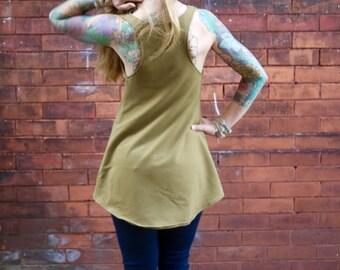 Organic Olive Green Asymmetrical Racerback Tank Top Shirt|Casual Shirt|Eco Shirt|Scoop Neck|Open Back Shirt|Maternity Shirt|Plus Size Shirt|