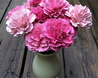 Pink Carnation Like Paper Flowers - Wedding, Bridal or Baby Shower, Shabby Chic, Table Centerpiece, Gift, Mother, Friend (One dozen)