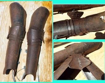 Full Leg Armour, LARP, full steel legs, segmented plate leggings, Medieval, rusty steel, Ren Faire Armor, usable but need repair