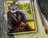 Literary Cat Magnet, Grey Tabby Cat Reading Book Fridge Magnet