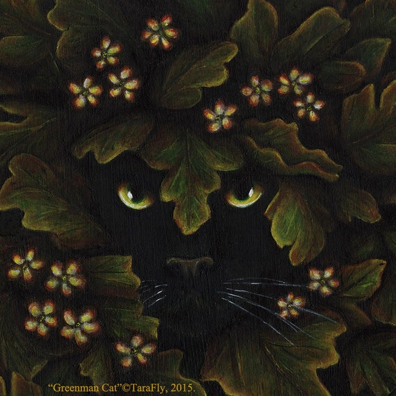 Greenman Cat 5x7 Fine Art Print