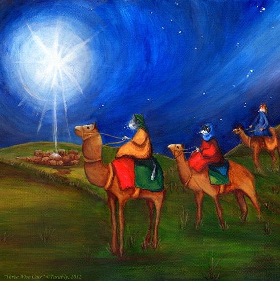 Three Wise Cats Star of Bethlehem Christmas Fine Art Print 8x10