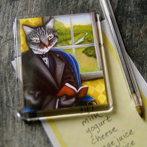 Literary Cat Magnet, Grey Tabby Cat Reading Book Fridge Magnet