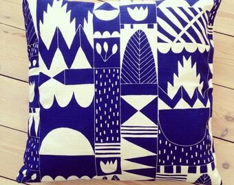 Leon Cushion Cover // Matisse Blue Cushion // Hand Printed // Indigo // 100% Cotton // Folk Art Cushion Cover // Decorative Cushion Cover