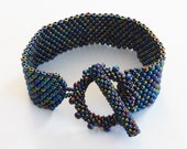 Midnight Blue PEACOCK Peyote Stitch Bracelet with Large Beaded Toggle Clasp