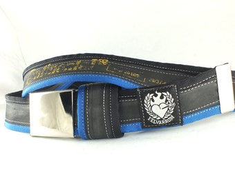 Bicycle Tire tyre BELT (recycled upcycled punctured vegan inner tube) black / navy blue + buckle + FREE tube bag + ASAP delivery
