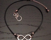 Infinity to Eternity COPPER and Leather Artisan Clasp Necklace Birthstone