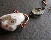 Ocean Jasper Lampwork Glass Long Copper Necklace, Pendulum Stone Copper Glass Ostrich Shell Ocean Inspired Necklace