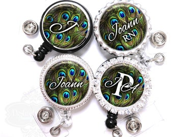 Retractable Badge Reel - Personalized Blue and Green Peacock Feathers Lanyard ID Holder with Name, Monogram, Occupation Title (A065)