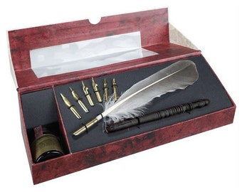 Calligraphy Feather Pen Set with Ink