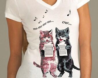 cat - cat shirt - cat tshirt - cat gifts - cat lover gift - cat lady - cat lover - womens tshirts - animal shirt - SINGING CATS -sport vneck